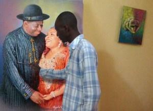 Portrait painting of Nigerian president goodluck ebele jonathan by ayeola ayodeji