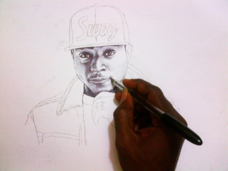 Popular Nigerian Musician Davido got a portrait drawing by Ayeola Ayodeji Awizzy: The reknown Nigerian Portrait Artist.