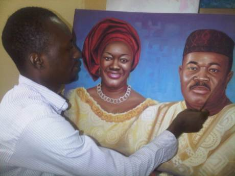 the making portrait painting of Governor Akpabio and wife by ayeola ayodeji abiodun, nigerian artist