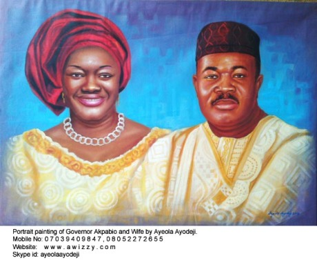 Finished portrait painting of Governor Akpabio and wife by ayeola ayodeji abiodun, nigerian artist