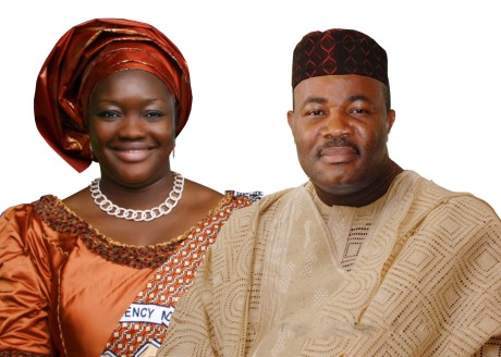 Picture combination of Mrs Akpabio and Gover Akpabio
