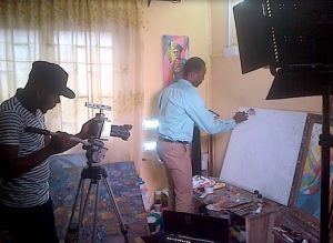 femi otedola family painting in da making